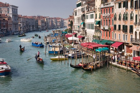 VENICE, ITALY - APRIL 08: The Grand Canal seen from Rialto Bridge in the morning on April 08, 2009 in Venice, Italy.