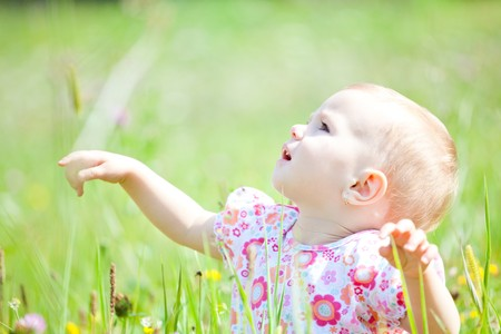 Baby girl spending time outdoor on a summer day. Stock Photo - 8035024