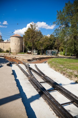 renewing: IASI, ROMANIA - SEPTEMBER 05: Renewing the old tramway tracks in Tg. Cucu Square on September 05, 2010 in Iasi, Romania. In 1900, Iasi was first with the longest (17,307 km) electric tram network in the country.