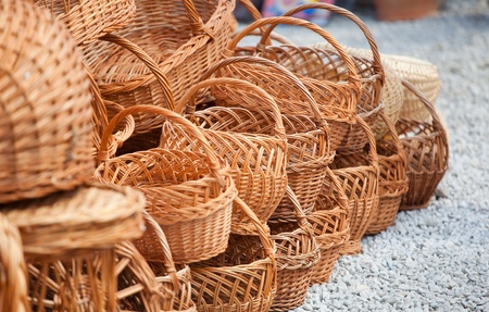 Various handmade baskets for sale at a souvenir shop in Romania. Stock Photo - 8512893