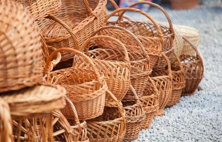 Vaus handmade baskets for sale at a souvenir shop in Romania. Stock Photo - 8512893
