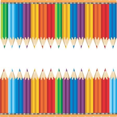 Ilustración vectorial de dos filas de múltiples colores lápices contra un fondo blanco con espacio entre texto. Ilustración de vector