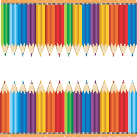 many colored: Vector illustration of two rows of multi colored pencils against a white background with space in between for text.