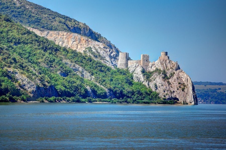 serbia: Golubac fortress in Serbia seen from the Romanian side of Danube river. Stock Photo