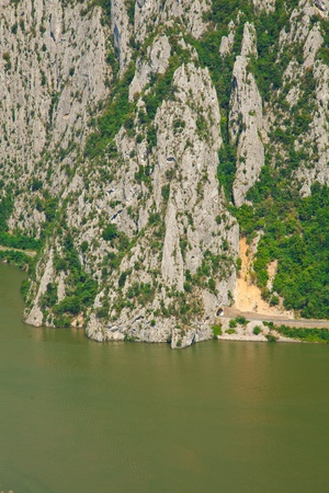 serbia landscape: Landscape in the Danube Gorges Cazanele Mari seen from the Romanian side.