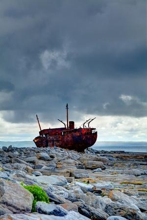 The Plassey Wreck on Inisheer Island in summer, Ireland.