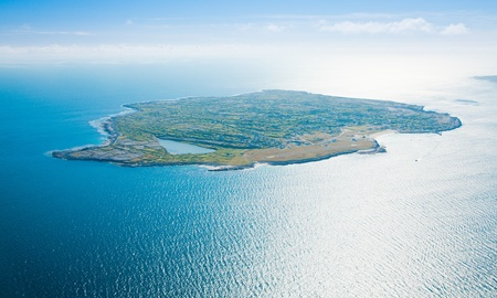 Aerial landscape of Inisheer Island, part of Aran Islands, Ireland. Stock Photo