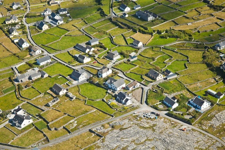 aran islands: Aerial landscape of Inisheer Island, part of Aran Islands, Ireland. Stock Photo