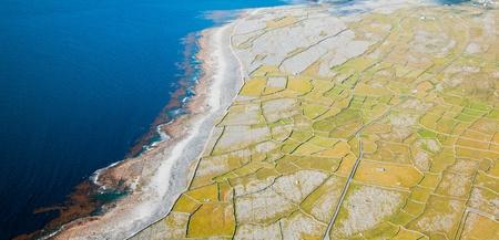 Aerial landscape of Inisheer Island, part of Aran Islands, Ireland. Stock Photo