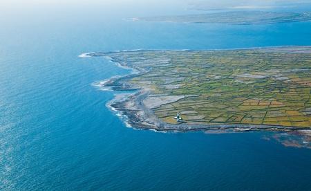 Aerial landscape of the lighthouse on Inisheer Island, part of Aran Islands, Ireland. Stock Photo