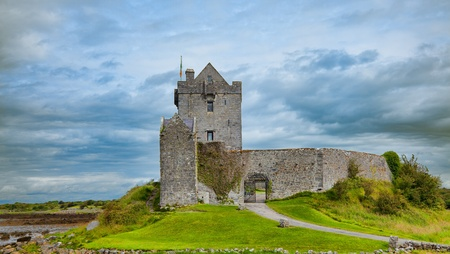 irish countryside: Dunguire castle during summer season in county Galway, Ireland. Stock Photo