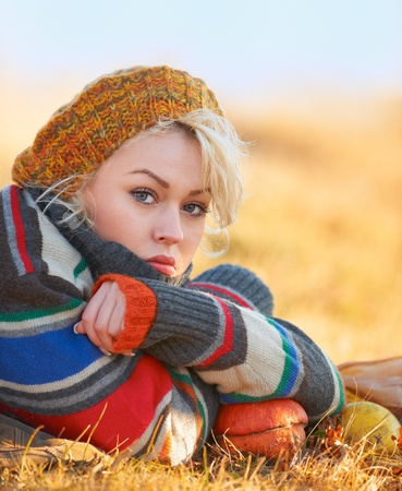 Portrait of a sad young woman outdoor in autumn. Stock Photo - 11141106