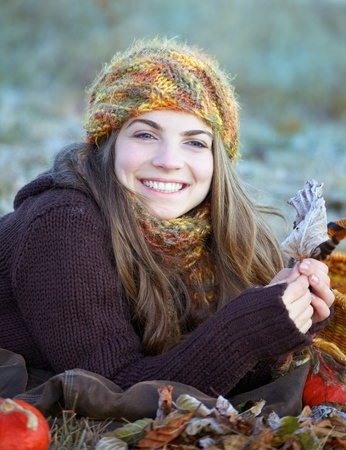 Young woman enjoying an autumn morning outdoor. Stock Photo - 11313571