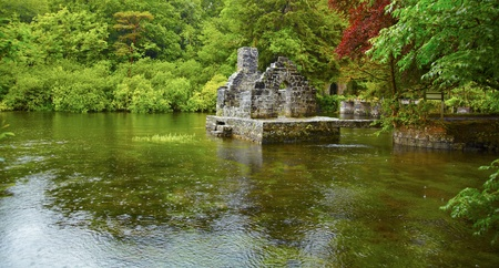 irish countryside: Panorama of Monks fishing house at Cong Abbey on a rainy day, Ireland.