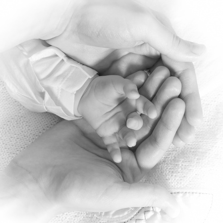 Newborn baby hand being hold with care by mothers hands. Black and white image.