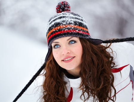 20 year old: Portrait of a beautiful 20 year old woman outdoor in winter. Stock Photo