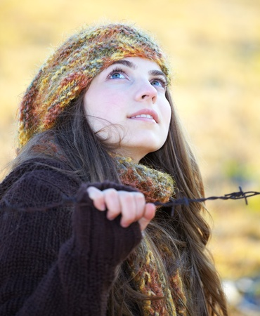 20 year old: Portrait of a beautiful 20 year old woman outdoor in autumn. Stock Photo