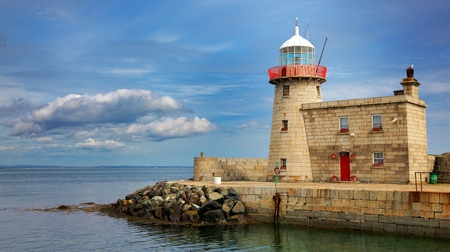eire: Panorama of Howth lighthouse in county Dublin, Ireland  The lighthouse was built in 1817