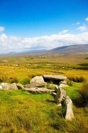 achill: Slievemore dolmen in summer season on Achill Island, Ireland.