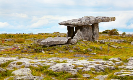 funerary: Landscape of the Poulnabrone megalithic tomb in the Burren, Ireland.