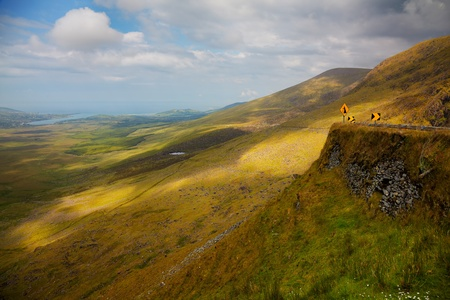 Landscape at Connor pass in Dingle Peninsula, Ireland. photo