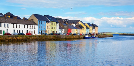 republic of ireland: Panorama of the Claddagh in Galway city, Ireland.