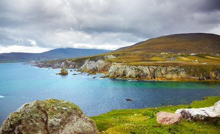 northern ireland: Overcast landscape of the coast at Achill Island, county Mayo, Ireland. Stock Photo