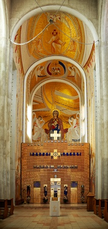 Interior and altar of the Greek Cathlic cathedral in Cluj Napoca city, Romania. Editorial