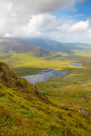 View over Dingle Peninsula towards Brandon Bay from Connor Pass, County Kerry, Ireland. photo