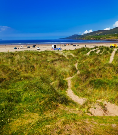 Beautiful summer landscape at Inch strand, one of the most famous beaches in Ireland  photo