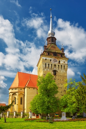 fortified: Saschiz fortified church in Transylvania, Romania