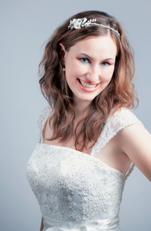 Studio portrait of a beautiful young bride, head shot. Stock Photo - 16947135