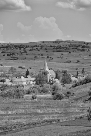 chappel: Landscape in the transylvanian countryside in the village of Soars, Romania.
