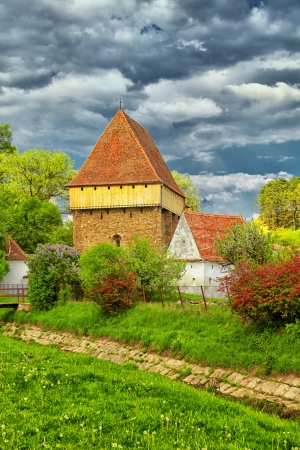 chappel: Saxon church at Bradeni in spring, Romania.