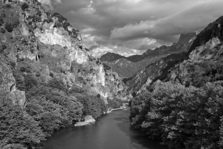 Black and white landscape of Aoos River and Pindus Mountains, Greece. photo