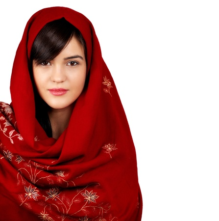 muslims: Young asian woman portrait wearing a red head scarf isolated on white.