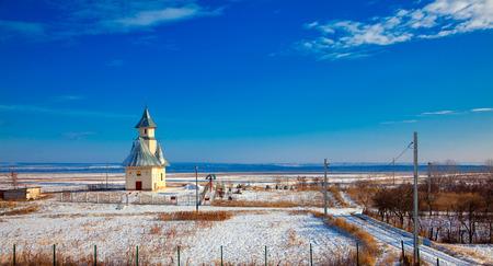orthodox church: Winter landscape with orthodox church in Stanca village, Iasi, Romania.