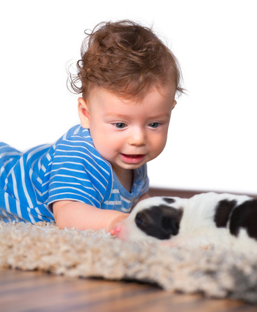 7 months: Studio portrait of a happy 7 months old baby boy playing with newborn puppy. Stock Photo