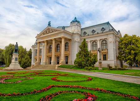 Cloudy landscape of the National Theather (Vasile Alecsandri) in Iasi city, Romania after restoration in 2015. Standard-Bild