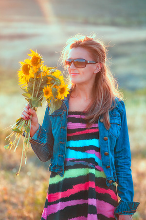 beautiful woman portrait: Beautiful woman portrait enjoying a day outdoors. Stock Photo