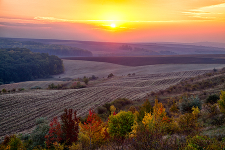 Sunrise in the countryside of Moldova region of Romania in autumn.