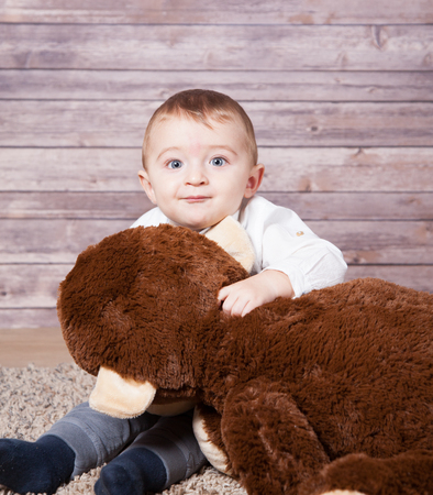 boy 12 year old: Baby boy portrait with a huge stuffed brown monkey toy.
