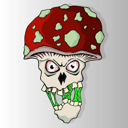 Fly-agaric character with toxic spit. Infected Amanita muscaria mushroom creepy head with falling off jaw