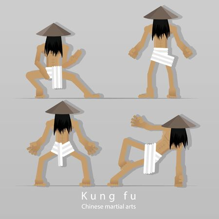 Kung-fu monk, training with  traditional Chinese Coolie hat, and white loincloth, in four poses , cartoon flat character illustration for web and print Çizim