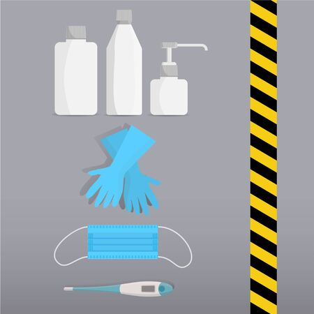 Set of hygienic medical supplies that include disinfection liquids and gel, latex gloves, doctor mask, thermometer and yellow and black stripe.