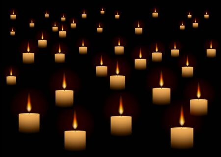 Candles glowing in dark abstract realistic vector background for web and print, with warm lights and blurred backdrop, like in church or romantic date, meditative mood, or remembrance day