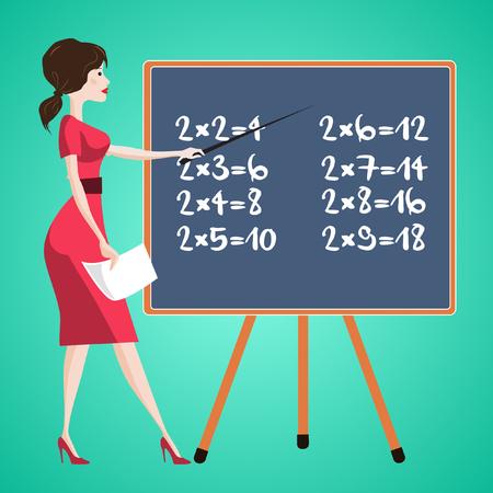 Teacher near school board with multiplication table.
