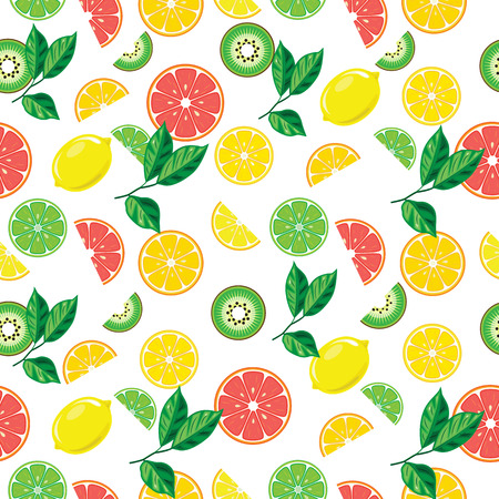 Seamless background with bright fruits. Bright banner for healthy diet vegetarianism Ilustração