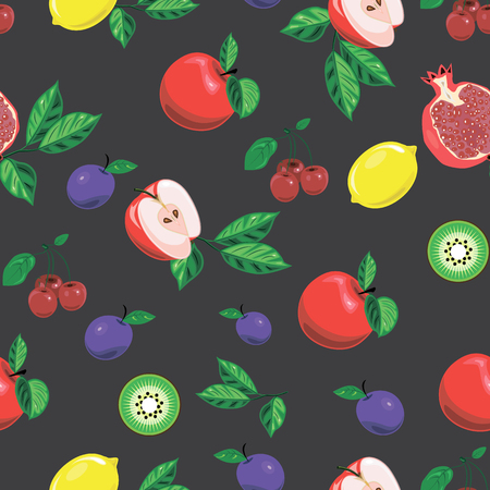 Seamless background with bright fruits. Bright banner for healthy diet vegetarianism Vectores