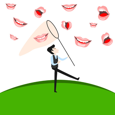 vector flat cartoon funny at meadow catching smiles with net. Isolated illustration on a white background.